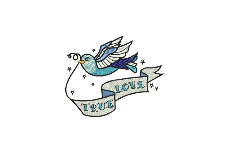 True Love Swallow Bird Tattoo Retro Machine Embroidery File design 5 x 7 inch hoop by Oopsidaisi on Etsy https://www.etsy.com/au/listing/548246047/true-love-swallow-bird-tattoo-retro