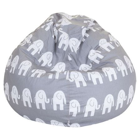 Beanbag chair in gray with an elephant motif and eco-friendly fill. Made in the USA.   Product: BeanbagConstruction ...