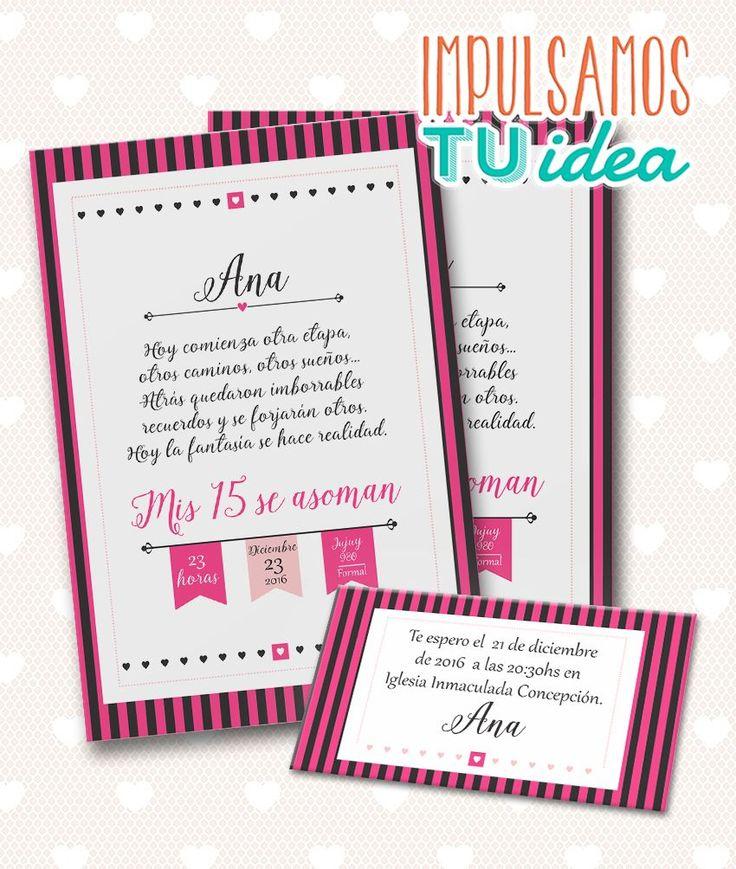 Invitación de 15 - Tarjeta de quince para imprimir fucsia