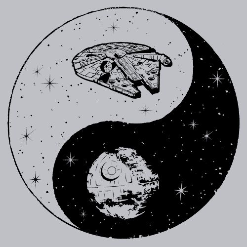 Jedi Sith Yin Yang T-Shirt Bring balance to The Force with this awesome t! The Light side of the Force, used primarily for knowledge and defensive skills is locked in an eternal battle with the Dark S