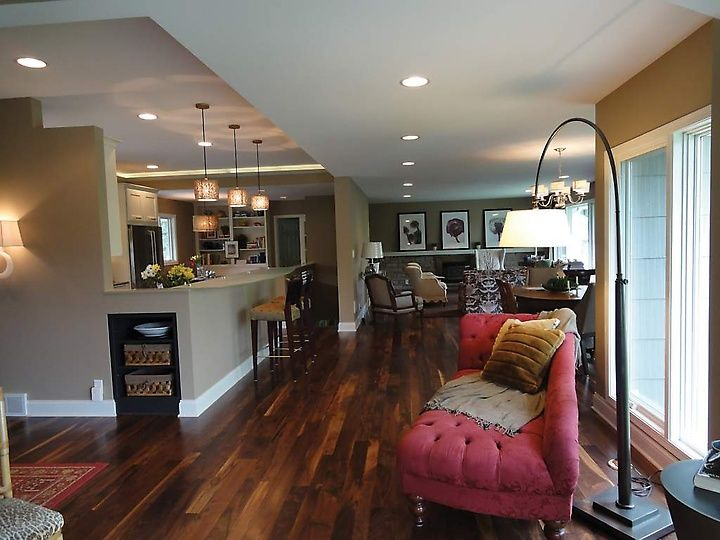 open floor plan in a 1950s rambler remodel