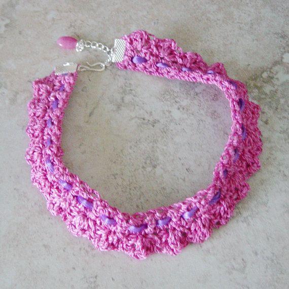 Rosa collana girocollo fucsia rosa nastro viola Choker mano