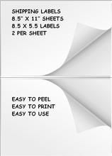 """400 Blank White Shipping Labels 2 Up On 8.5"""""""" x 11"""""""" Sheets For Inkjet/Laser Printers"""
