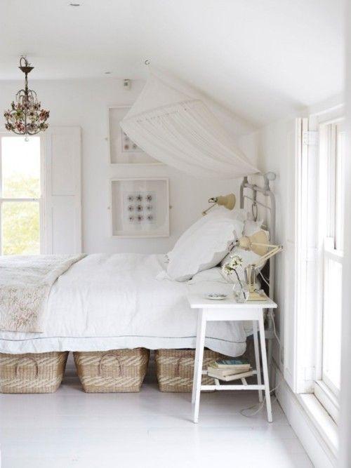 Basket storage under the bed (use bed riser stands on each corner for the elevation)