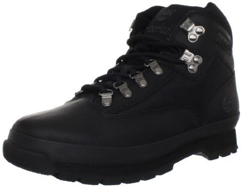 Timberland Men's Euro Boot,Black Smooth,9 M US Men's Timberland, Euro Hiker. Premium full-grain leather and canvas upper for long-lasting wear. Moisture-wicking lining made with 50 percent recycled PET. Padded collar provides a comfortable fit around the ankle. Dual density EVA midsole for lightweight cushioning.  #Timberland #Shoes