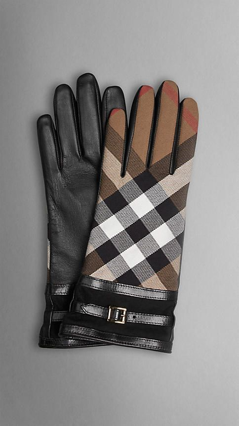 Burberry House Check and Leather Touch Screen Gloves in black. Size 7.5    $425.00