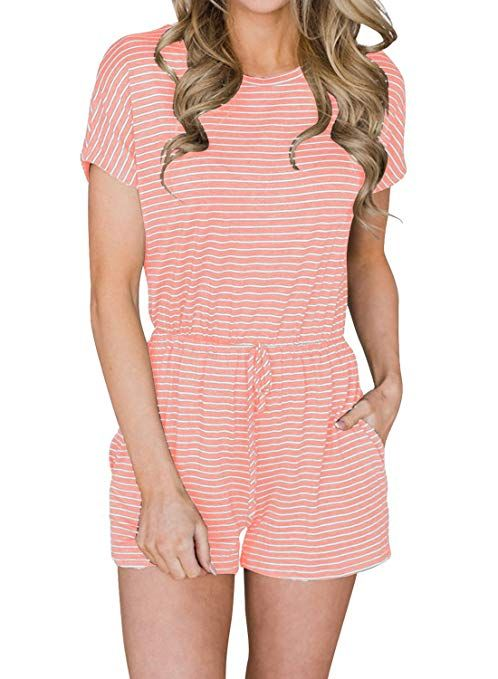 46df0489191 MIHOLL Striped Rompers Women Casual Short Sleeve Jumpsuits with Belt   Cute  Summer Rompers Women   Chic Fashion for Women    jumpsuit  summerjumpsuit  ...