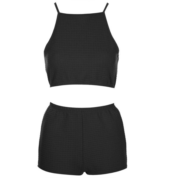 TOPSHOP '90s Crop Top and Shorts Pyjama Set ($40) ❤ liked on Polyvore featuring intimates, sleepwear, pajamas, tops, dresses, shorts, black, cotton sleepwear, black pajamas and topshop