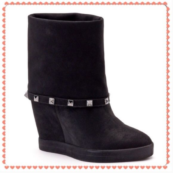 Jennifer Lopez Rheena Black Suede Wedge Boots 7 BRAND NEW WITH BOOTS.  No Trades Jennifer Lopez Shoes Ankle Boots & Booties