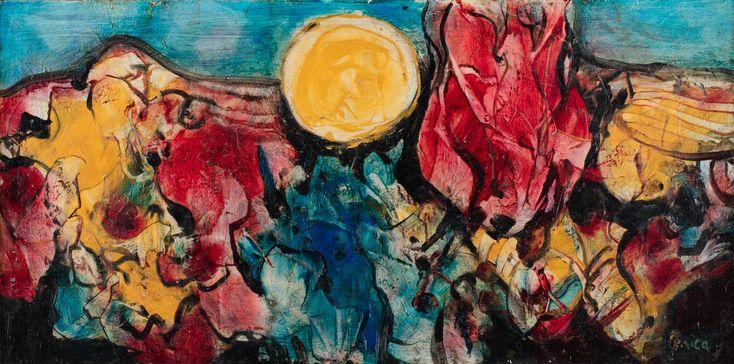 ALFRED LENICA (1899 - 1977)  KOMPOZYCJA   olej, płyta / 35 x 70 cm  sygn. p.d.: Lenica