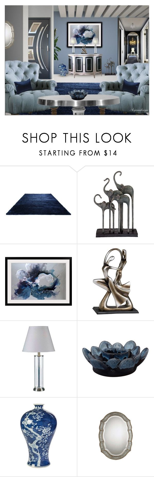 """FRIDAY NIGHT BLUES"" by arjanadesign ❤ liked on Polyvore featuring interior, interiors, interior design, casa, home decor, interior decorating, HallWay, Pulaski, Universal Lighting and Decor e Kravet"