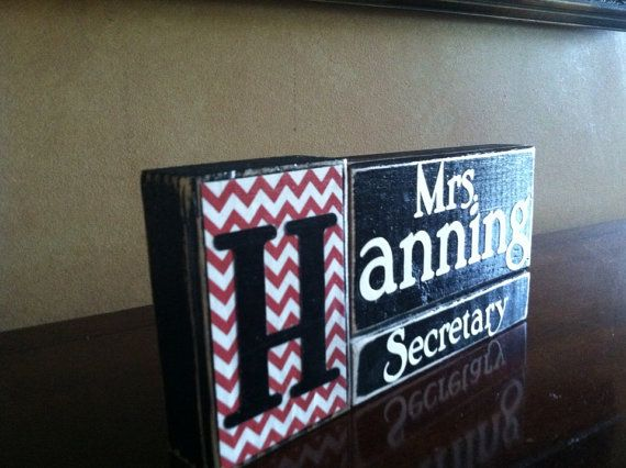 Personalized Secretary Gift - Wood Secretary Name Block - Perfect teacher gift for the end of the school year.