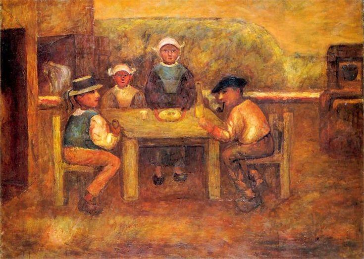 Posiłek chłopów. Olej na płótnie z 1919 roku.