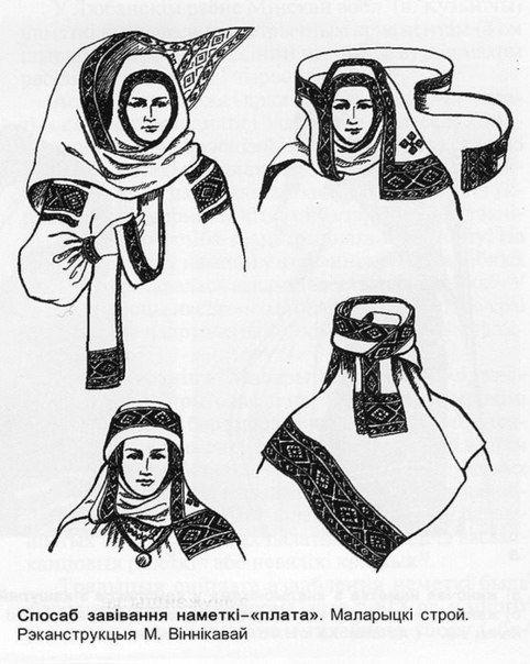 The way of wrapping head shawl. Reconstruction of M. Vinnikavaj