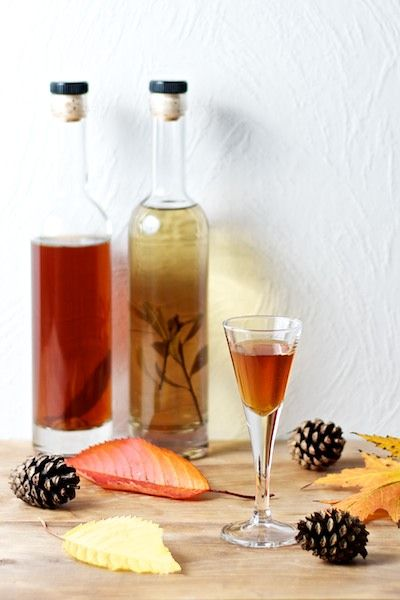 Two spiced schnapps; christmas schnapps and and bog-myrtle schnapps