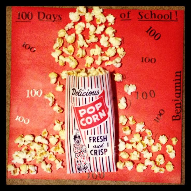100 days of school project.  100 pieces of popped corn. 3D popcorn bag look. #100daysofschool #popcornposter #100daysofschoolideas