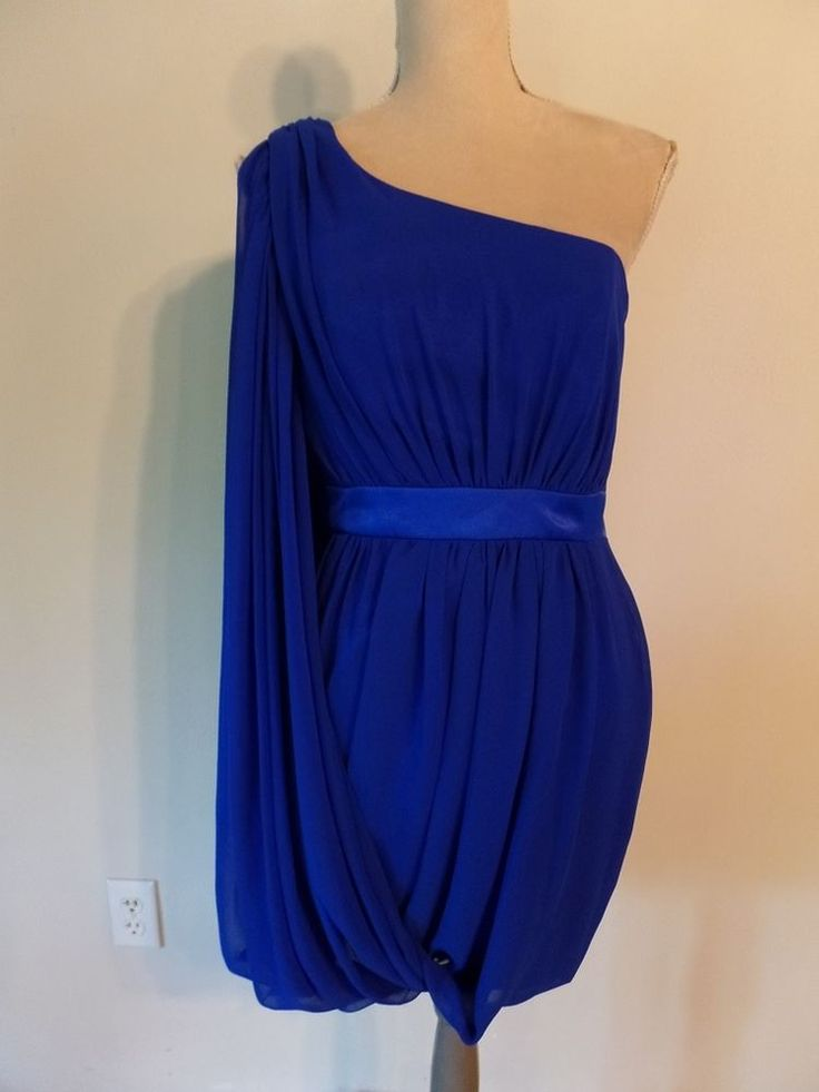 New Cache Stunning Cobalt Blue Grecian Style One Shoulder Cocktail ...