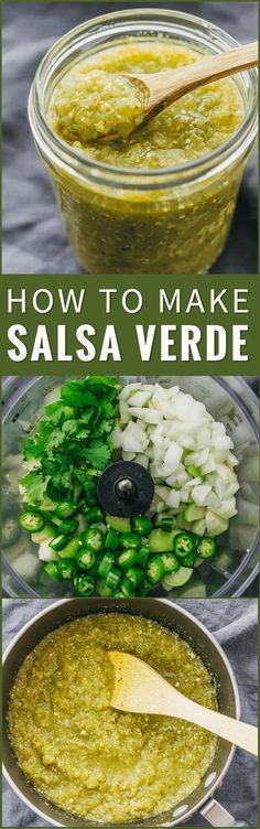 Here's a step-by-step foolproof recipe on how to make salsa verde! It's so easy to make this at home using pureed tomatillos, serrano peppers, onion, cilantro, and lime. tomatillo sauce, tacos, enchiladas, mexicana, roasted, authentic, creamy, receta, spicy, green, dip, chili, sauce, how to make, vegetarian, vegan, uses, tomato, dinner, fresh, hot, best, dishes, cilantro, mild, simple, gluten free, low carb, lime juice, onions, garlic clove, mexico, water, food processor via @savory_tooth