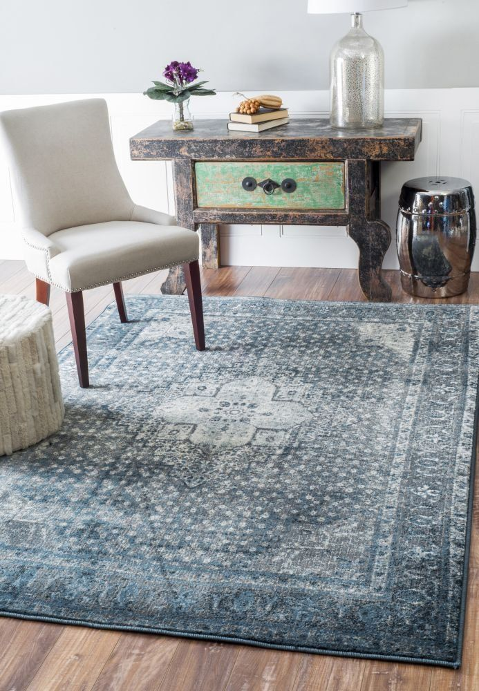 "Amazon.com - Traditional Vintage Inspired Overdyed Distressed Fancy Blue Area Rugs (7' 10"" X 11' 2"") -"