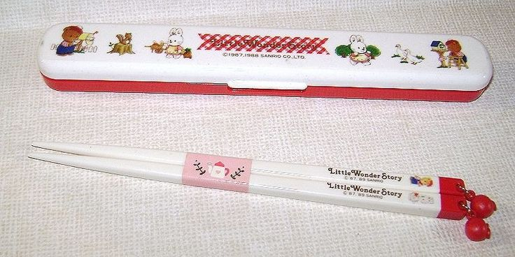 LITTLE WONDER STORY 1988  Sanrio Japan chopstick food box set  - set bacchette