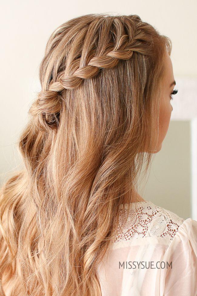 Half Up Lace Braid Mini Bun Missy Sue Half Up Curly Hair Hair Braid Videos Hair Tutorial