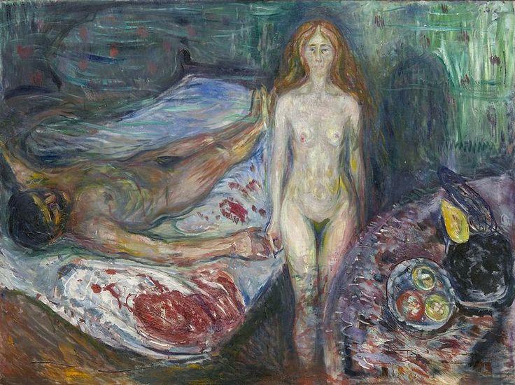 """La Muerte de Marat, 1907, por Edvard Munch. Expresionista alemán. No le debe nada a David, ni a Marat, ni a los años del terror, ni a Corday. Toma el tema a raíz de un episodio de su vida amorosa. Vivía una relación turbulenta con Tulla que terminan en una dramática escena  con revolver y todo. Munch se lastima un dedo de la mano izquierda. Para Munch, este suceso se convierte en una obsesión. Los rasgos de Tulla aparecen también en el motivo de """"La muerte de Marat"""" del que hay dos…"""