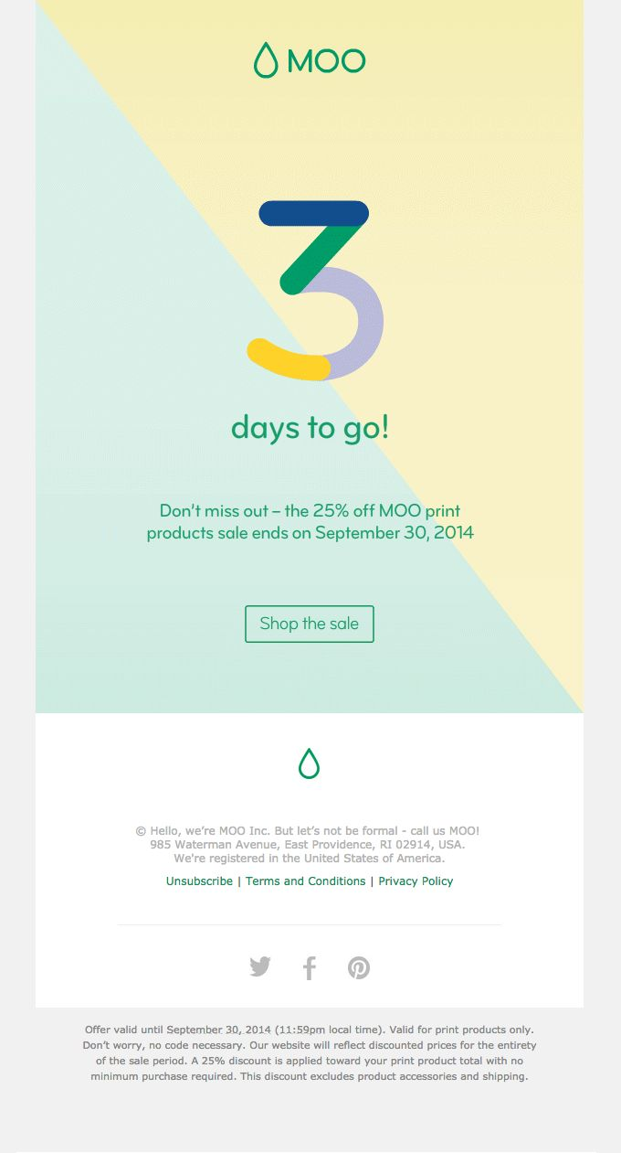 Only 3 days left of the sale – Promotional Email from Moo #newsletter #emaildesign