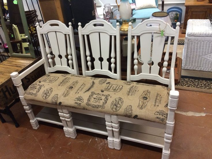 Made A Bench From Yard Sale Chairs Our Repurposed Furniture Pinterest Benches As And Chairs