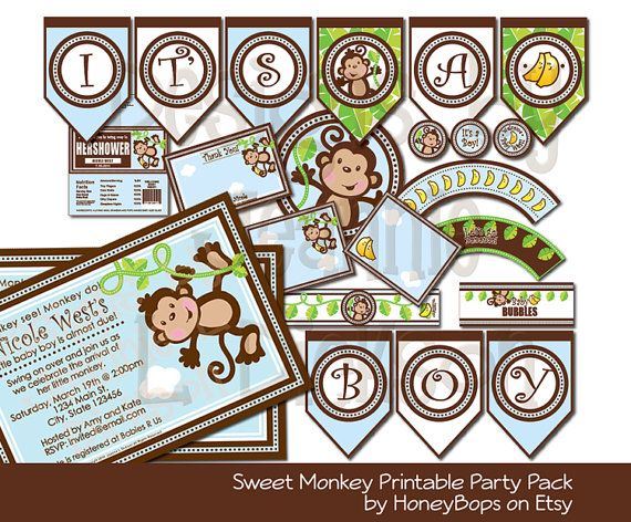 13 best invites images on pinterest monkey baby showers baby monkey invitation thank you card cupcake wrappers cupcake toppers diy printable party pack uprint digital files solutioingenieria Images