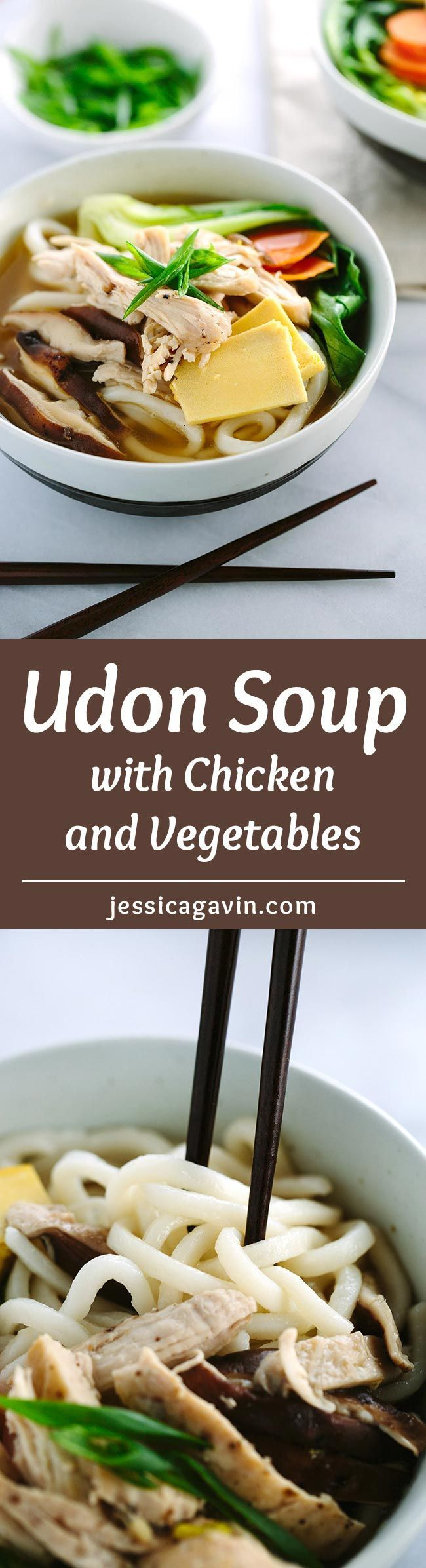 Chicken Udon Soup with Bok Choy - Each bowl is packed with protein, vegetables, and Asian noodles in a savory soy ginger broth. A simple and quick meal on chilly days! | jessicagavin.com