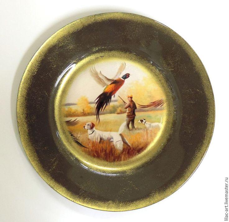 """Купить Тарелочка """"Охота на фазана"""" - золотой, Тарелка декоративная, сувенирная тарелка, охота, подарок мужчине"""