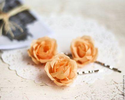 Заколки ручной работы. Ярмарка Мастеров - ручная работа. Купить Оранжевые розы. Шпильки для волос. Розочки. Цветы из ткани в волосы. Handmade.