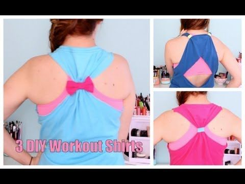 ▶ DIY No Sew Workout Shirts from TShirts - YouTube