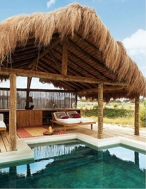 a stunning summer home in portugal by the style files, via Flickr: Summer Beaches,  Thatched Roof, Elle Decor, Beaches House, Beaches Huts, Beaches Resorts, Places, Portugal, Dreams Pools