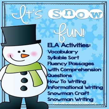 Add some fun winter learning to your classroom with these ELA activities- Winter Picture, Word, & Vocabulary Definition SortSyllable SortingHow To...Writing BookInformational Writing BookWinter Fluency Passages with Comprehension QuestionsSnowman CraftSnowman WritingContents:11 one syllable winter word  picture cards11 two syllable winter word picture cards11 one syllable winter word cards11 two syllable winter word cards22 winter vocabulary cardssyllable sort header cardsword, picture, &...