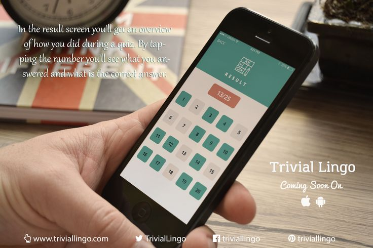 After taking a ‪#‎quiz‬ you can review your results by tapping the question. You'll also get information on what you answered and what is the correct answer. ‪#‎TrivialLingo‬ ‪#‎ComingSoon‬