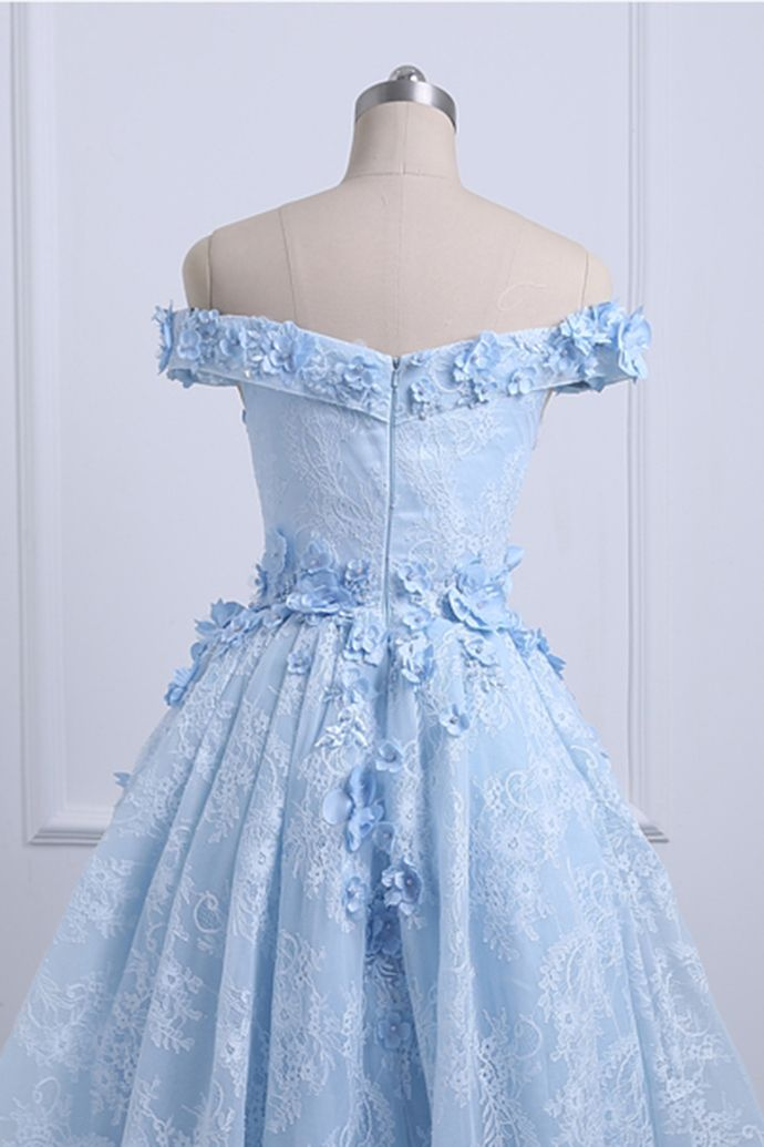 875f9a6f910 Sweetheart blue lace off shoulder high low homecoming dress