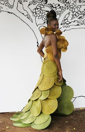 Lime and gold dress with train, made from handwoven lutindzi placemats and coasters by Gone Rural. #Ruraltoramp