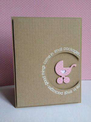 handmade baby welcome card from I'm in Haven: Less is More 133...Round and Round ... clean and simple look ... kraft base and main panel .. off the edge negative circle space ... cute sentiment runs around the circle ... die cut baby carriage witha heart ... wonderful card for a new baby's parents ...