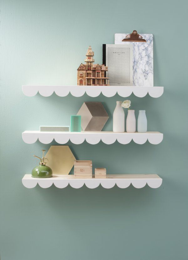 Diy-cloud wall storage, Deko magazine, styling Jenni Juurinen, photo Mirva KakkoStyle Jenny, Clouds Wall, Fyrir Barnaherbergið, Kids Room, Girls Room, Baby Things, Wall Shelves, Barnaherbergi Svo, Scallops Shelves