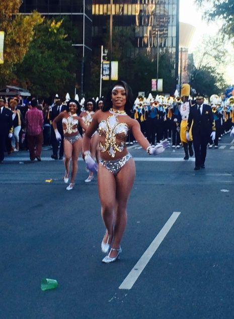 """Southern University Dancing Dolls lead their """"Human Jukebox"""" band with confidence and attitude."""