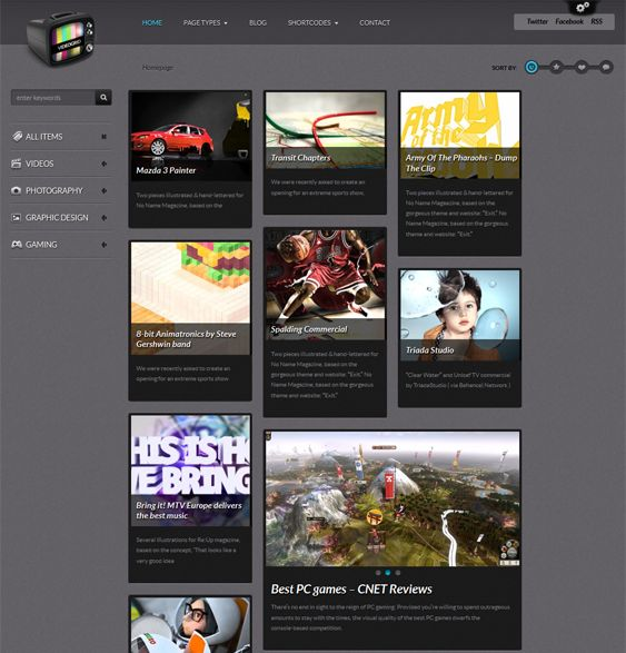 This video WordPress theme features light and dark color schemes, Feedburner support, a jQuery image/video lightbox, dynamic sidebar widget creation, a responsive layout, and more.