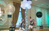 Jets Themed Centerpieces with Alternating Solid & Sparkle Balloons with Lights