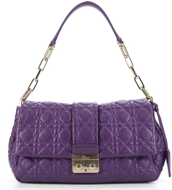 Christian Dior Purple Lambskin Cannage New Lock Shoulder Bag