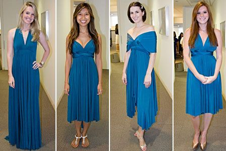 Glamour's Great Big Bridesmaid Dress Try-On-A-Thon  Here are a bunch of ways you can wear the convertible dress! With sleeves, one shoulder, halter, etc