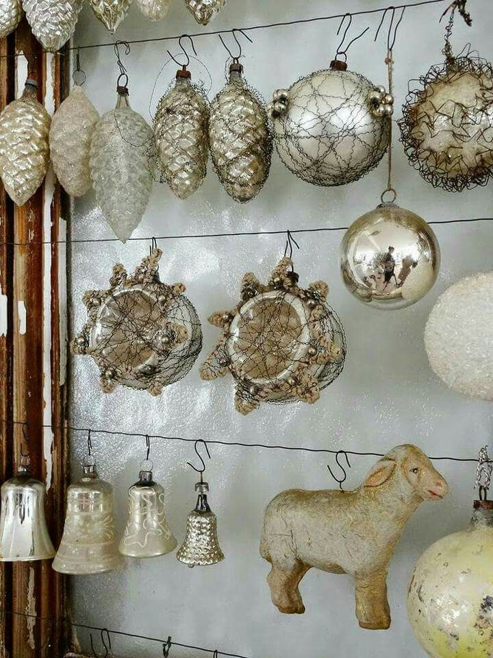 LOVE this way of displaying vintage Christmas ornaments!!  I have it all to make from old window frame