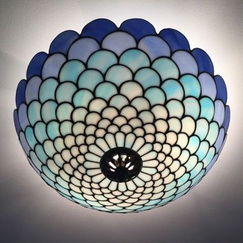 Blue Tiffany Plafond Ceiling Lamp Stained Gl Lightning Light Fixture Pinterest