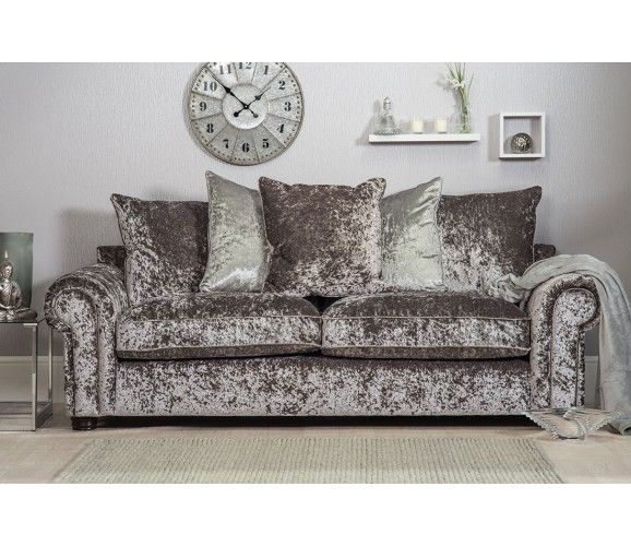 Marilyn 3 Seater Crushed Velvet Sofa - Silver (Grey)