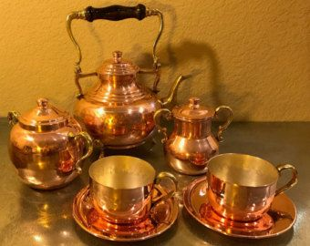 Copper and Silver Tea or coffee Set with Bronze and Wooden Handle