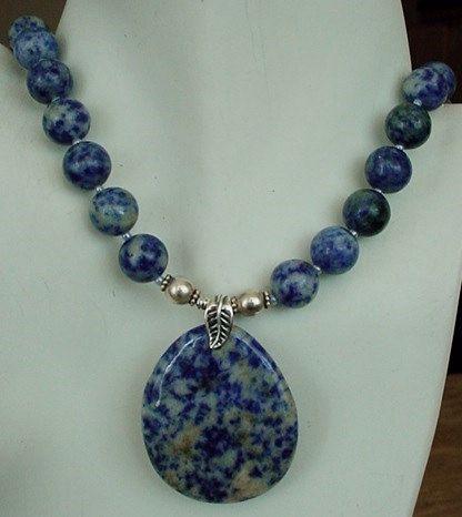 Blue  Necklace  Dumortierite Necklace c/w Dumortierite by camexinc